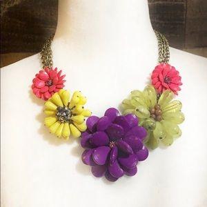Vintage Flower Floral Beaded Rhinestone Necklace